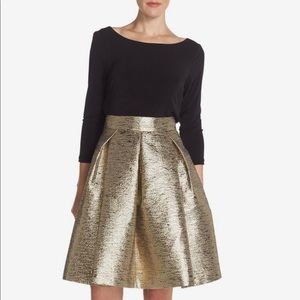 Eliza J Sz 14 NWT gold lame midi skirt